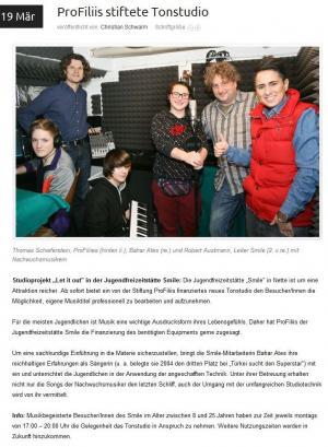 ProFiliis unterstützt das JFS Smile bei der Einrichtung eines Tonstudios