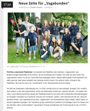 """Neue Zelte für die Pfadfinder """"Vagabunden"""""""