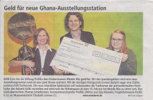 """Scheckübergabe an das Kindermuseum mondo mio! für die Einrichtung der neuen Ausstellungsstation """"Ghana"""""""