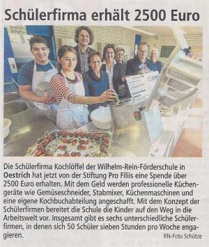 """Neue Geräte für die Schülerfirma """"Kochlöffel"""""""