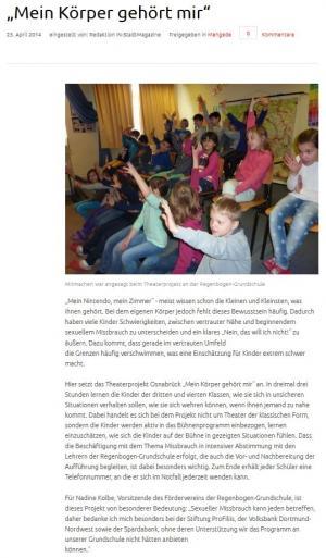 """Theaterprojekt """"Mein Körper gehört mir!"""" an der Regenbogen-Grundschule"""