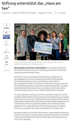 "ProFiliis hilft bei der Rettung des ""Haus am See"""
