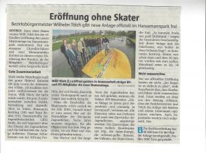 Eröffnung der Skateranlage in Mengede