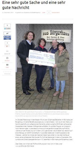 ProFiliis verdreifacht Spende vom Musiktheater i-Punkt an den Malteser Kinder- und Jugendhospizdienst