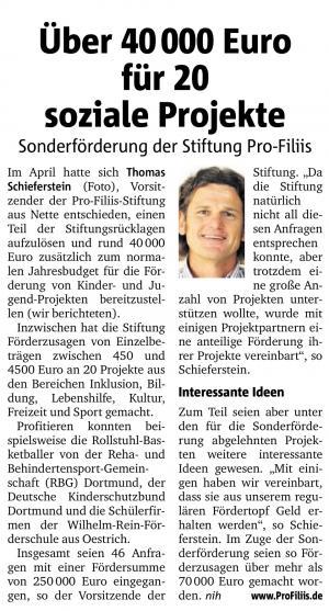 ProFiliis Sonderförderaktion 2015