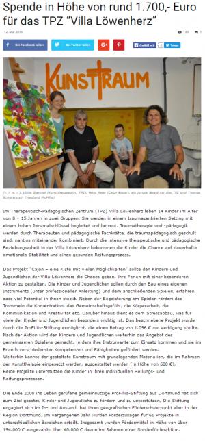 """ProFiliis unterstützt """"Villa Löwenherz"""""""