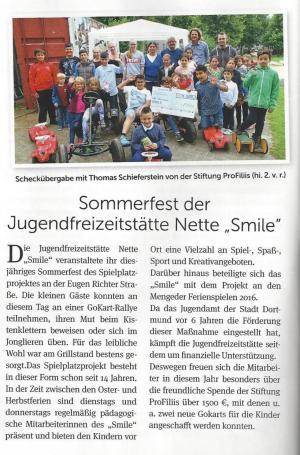 ProFiliis unterstützt Smile's Crazy Playground