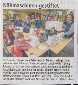 Nähen lernen an der Bodelschwingh-Grundschule
