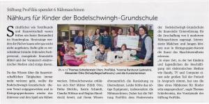 Nähkurs für Kinder der Bodelschwingh Grundschule