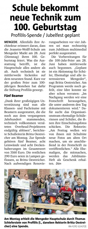 Neue Beamer für Jeanette-Wolff-Hauptschule