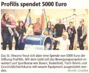 ProFiliis spendet 5.000 € für St. Vincenz Jugendhilfe-Zentrum