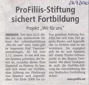 """ProFiliis unterstützt Lehrerfortbildung """"Wir für uns"""""""