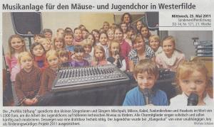 Musikanlage für den Mäuse- und Jugendchor aus Westerfilde